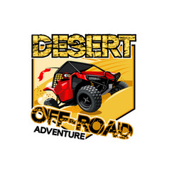 Off-road atv buggy logo desert adventure vector