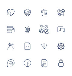 Outline icons for web and mobile editable vector