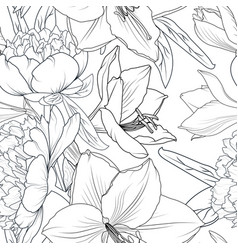 peony and lily flowers seamless pattern texture vector image