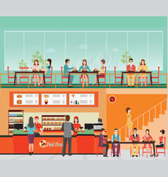 people buying fast food at fast food restaurant vector image