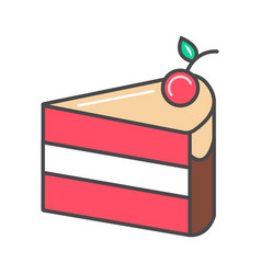 piece of cherry cake icon vector image