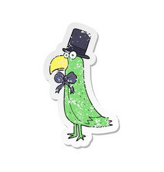 Retro distressed sticker of a cartoon posh parrot vector