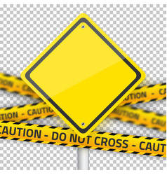 Road Yellow Sign with Yellow Police Strip vector image