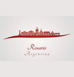 Rosario skyline in red vector