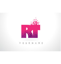rt r t letter logo with pink purple color and vector image