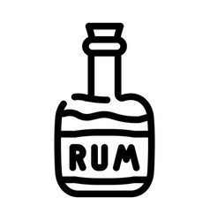 Rum drink bottle pirate line icon vector