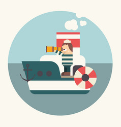 sailor on boat vector image