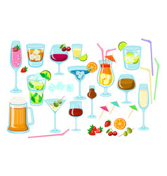 set of coctails classic alcoholic drinks isolated vector image