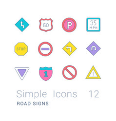 set simple line icons road sign vector image