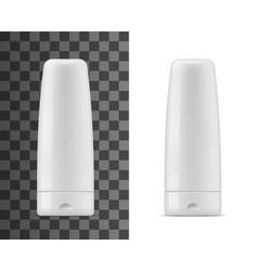 shampoo or balm bottles isolated mockup vector image