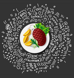 steak roast beef icon on black background vector image
