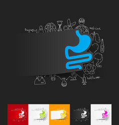 Stomach paper sticker with hand drawn elements vector