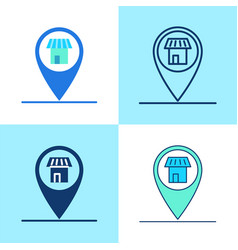 store location pin icon set in flat and line style vector image