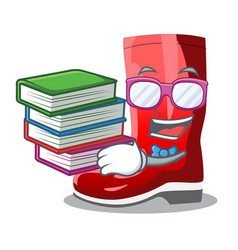 Student with book muddy farmer boots shape the vector