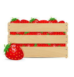 Sweet strawberries in wooden box vector