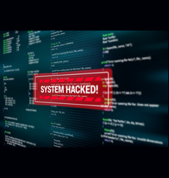 system hacked warning alert message on screen vector image