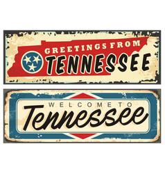 tennessee usa vintage tin sign vector image