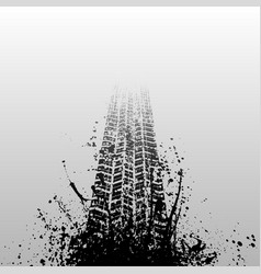 Tire track with ink blots vector