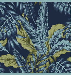 tropical leaves green seamless dark blue vector image