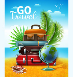 Tropical travelling tourism poster vector