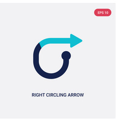 two color right circling arrow icon from arrows vector image