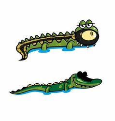 Two Crocodile vector