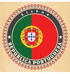 Vintage label cards of Portugal flag vector