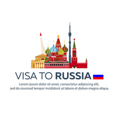 Visa to russia travel to russia document for vector