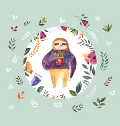 watercolor with cute sloth vector image