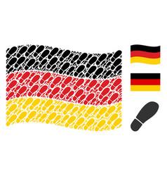 waving germany flag mosaic of boot footprint icons vector image