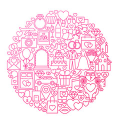 Wedding line icon circle design vector