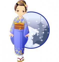 Winter kimono girl vector