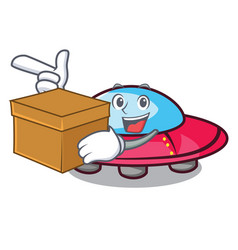 With box ufo character cartoon style vector