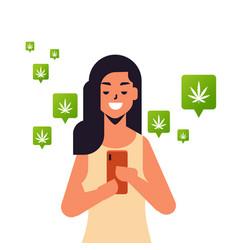 woman ordering hemp cannabis marijuana using vector image