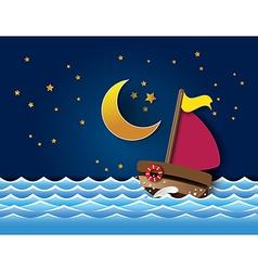 Yacht on sea night vector