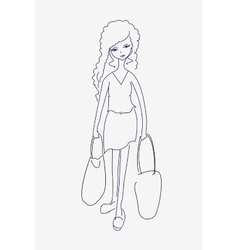 A sketch of a tired young woman with shopping bags vector image vector image