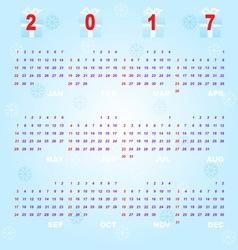 Created blue bokeh template of 2017 calendar vector image vector image
