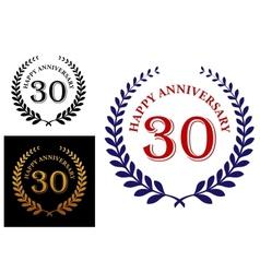 Happy 30th anniversary emblem vector image