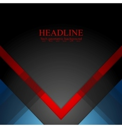 Minimal tech geometric red blue background vector