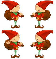 Red Elf Holding A Sack vector image vector image