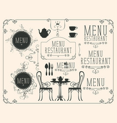 set of drawings on the theme of restaurant menu vector image vector image