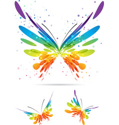 set of multicolored butterflies vector image vector image