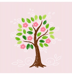 tree with pink flower vector image vector image
