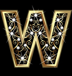 W gold letter with swirly ornaments vector image vector image
