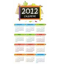 2012 educational calendar vector image