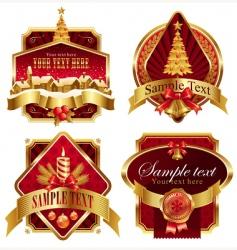 Christmas golden ornate frames vector image