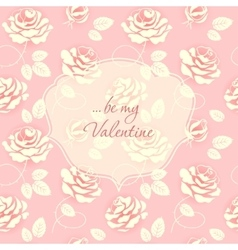 Delicate pink card with roses vector image