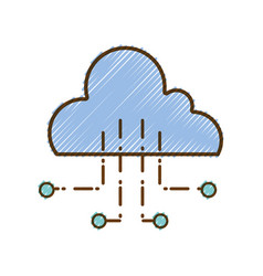 grated cloud data with circuits to connection vector image vector image