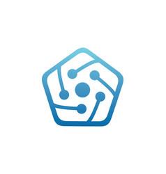 polygon connect technology logo vector image