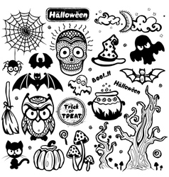 Vintage halloween set of icons vector